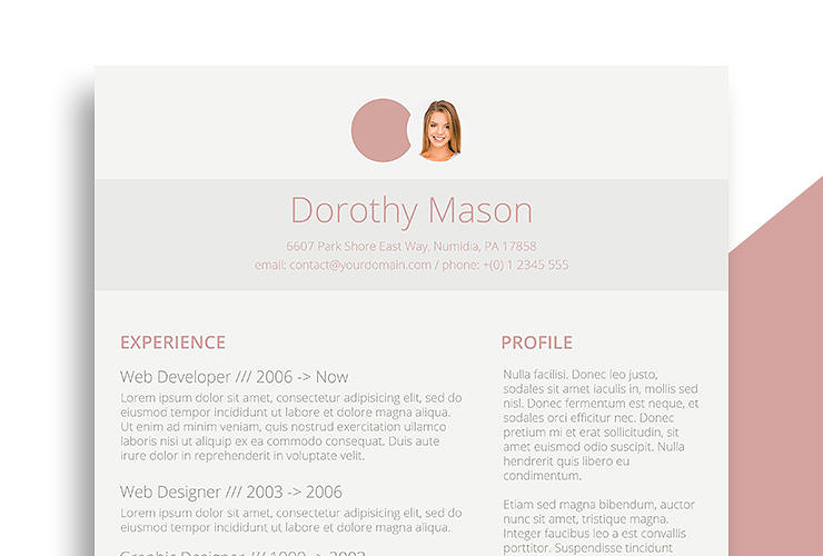 free resume design for the ladies simple in pink