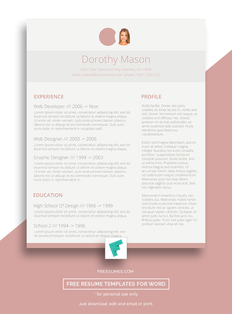 Free Resume Design For The Ladies  Simple In Pink  FreesumesCom