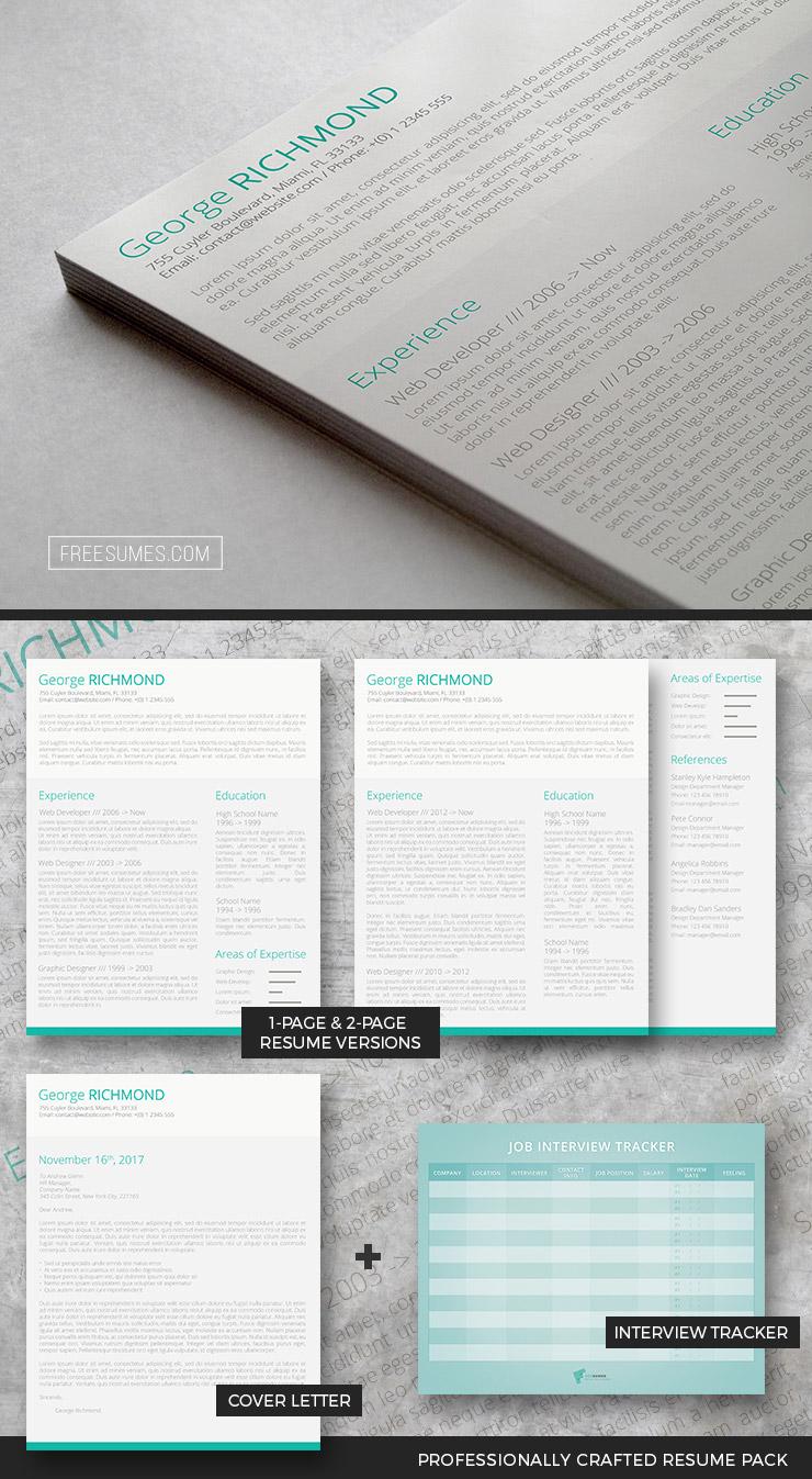 modern resume set drop of green