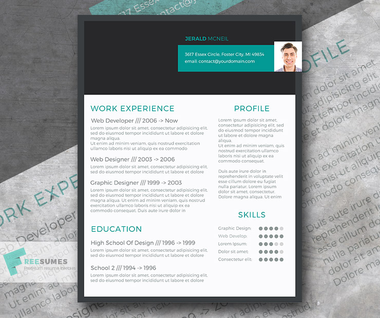 stylish header resume
