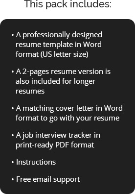 included in resume pack