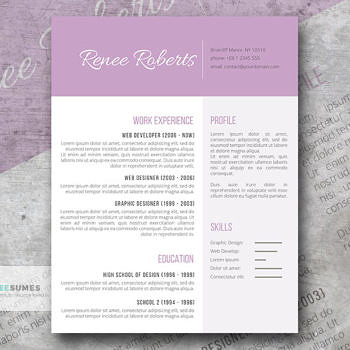 lilac beauty resume design