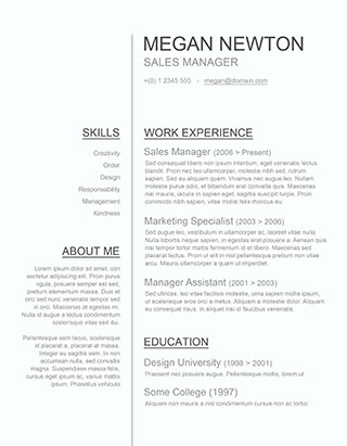 words in a resume