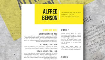 electric yellow resume template