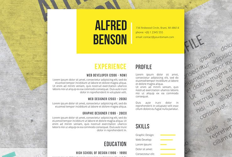 Electric Yellow | A Free Creative Resume Template For Word  Free Creative Resume Templates