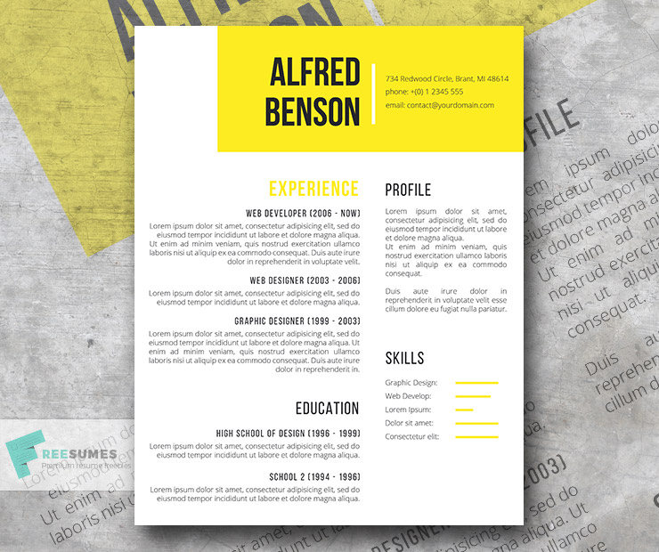 Electric Yellow | A Free Creative Resume Template For Word