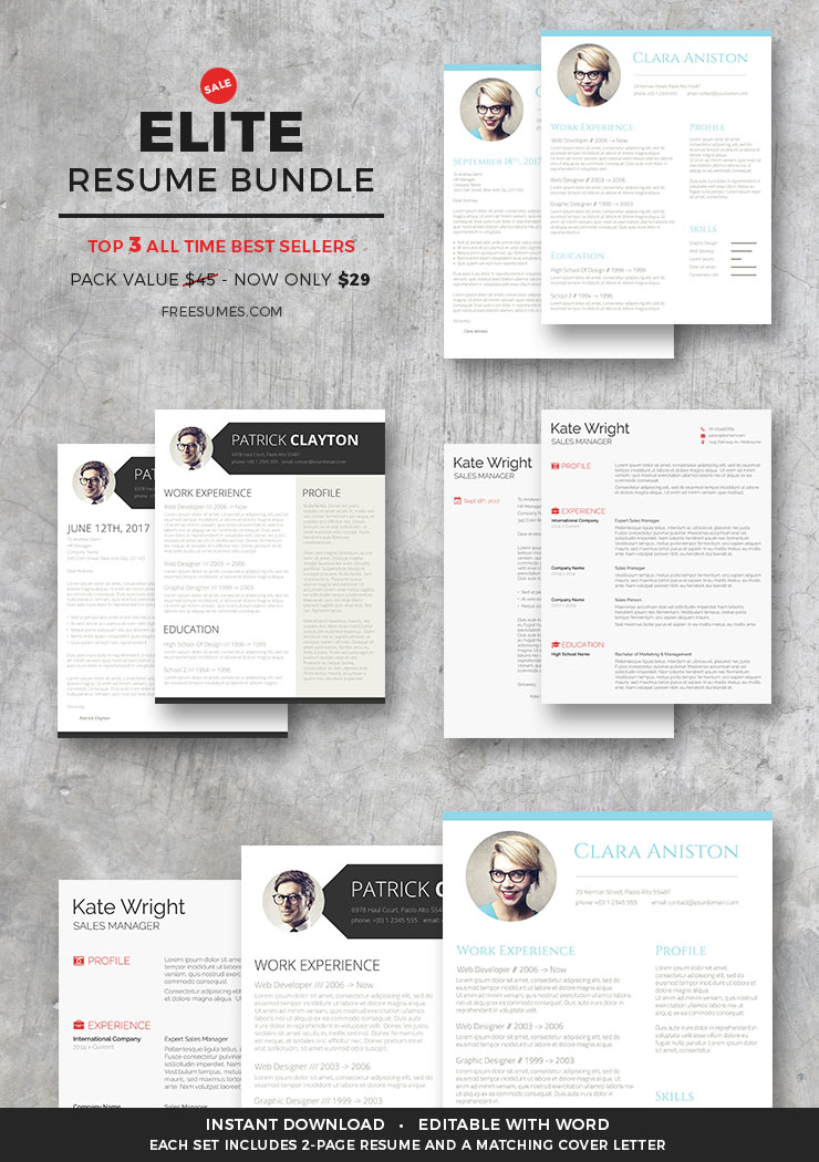 Elite Resume Bundle | 3 Best Selling Templates