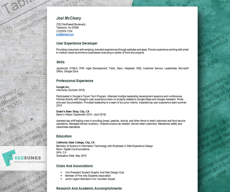Compelling Resume Example For College Student To Use For Writing The First Job Application Freesumes