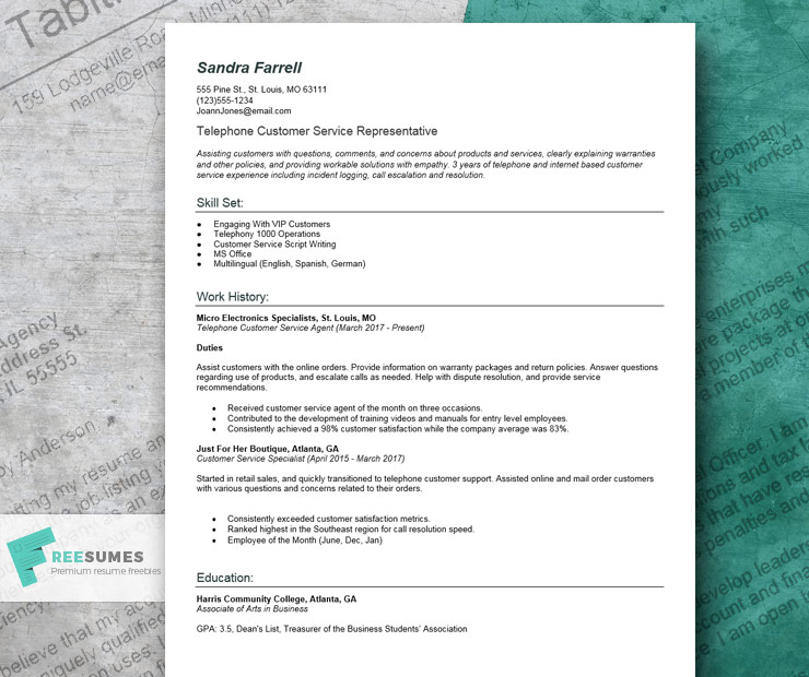 resume example for customer service rep