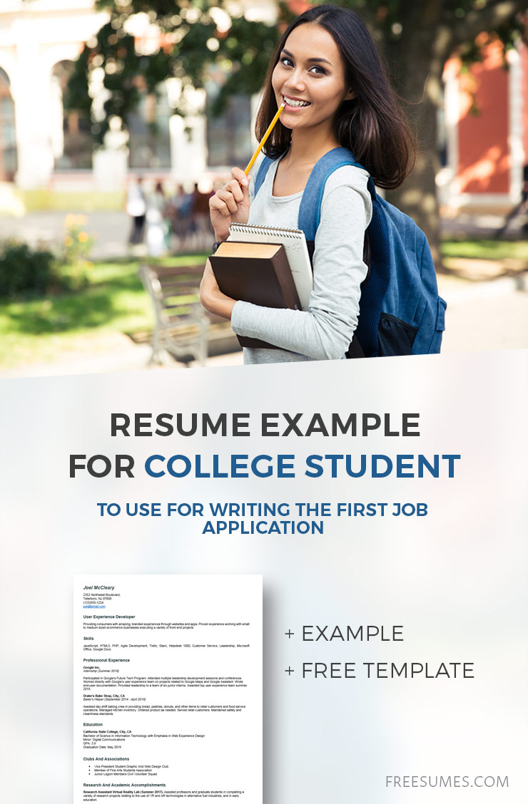 compelling resume example for college student to use for