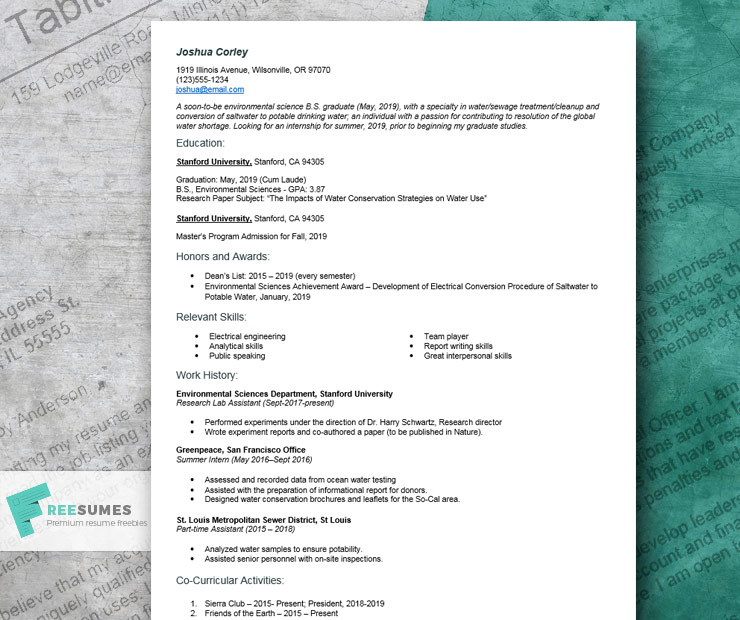 resume-example for internship