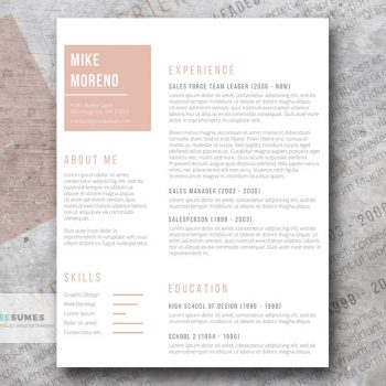 rose gold resume design