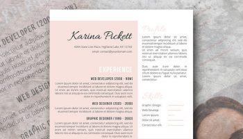 modern peach resume template