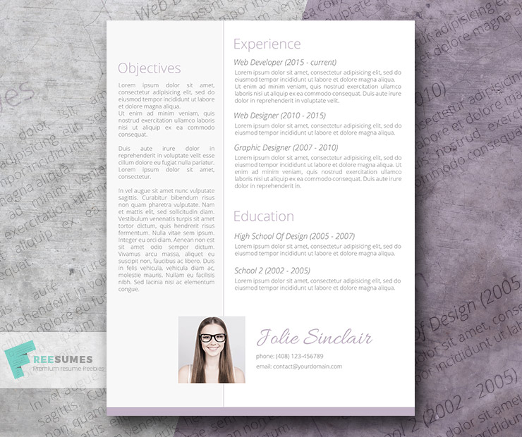 soft and sweet resume design freebie