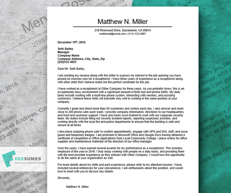 cover letter example for a receptionist