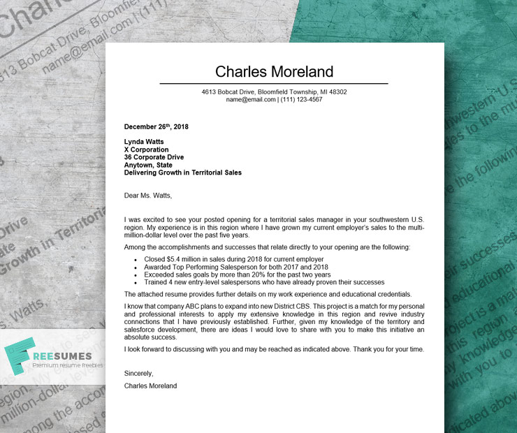 cover letter example for sales