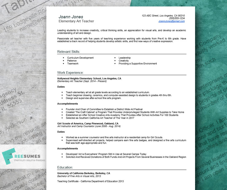resume example for teachers