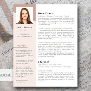 rose white resume design