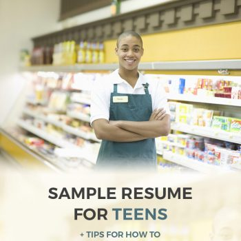 sample teenager resume