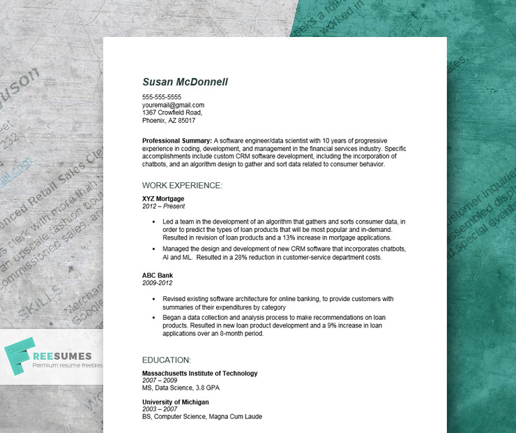 resume example for engineering