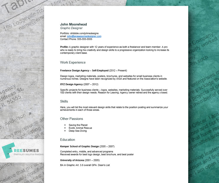 A Creative Resume Example For Graphic Design Job Seekers Freesumes