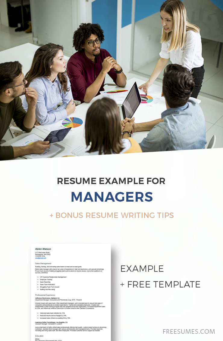 sample manager resume