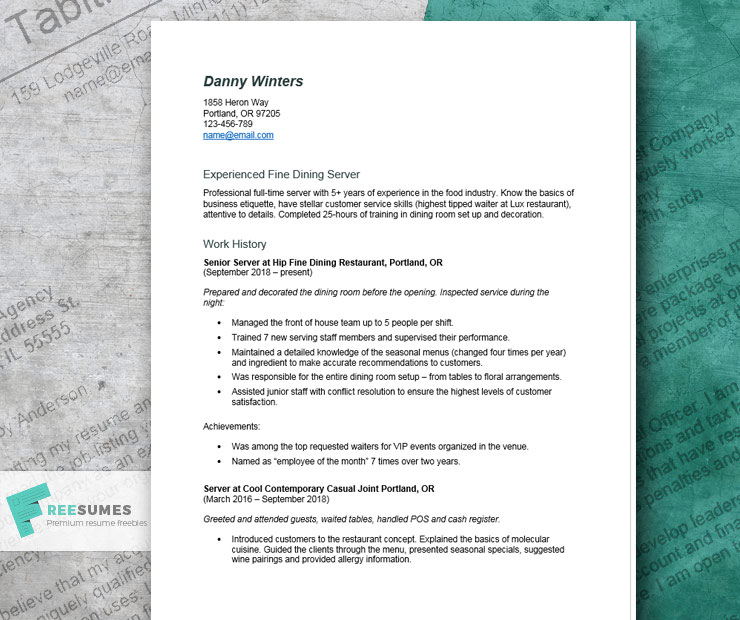 Server Resume Example Tips And Tricks For Writing The Best Resume Freesumes