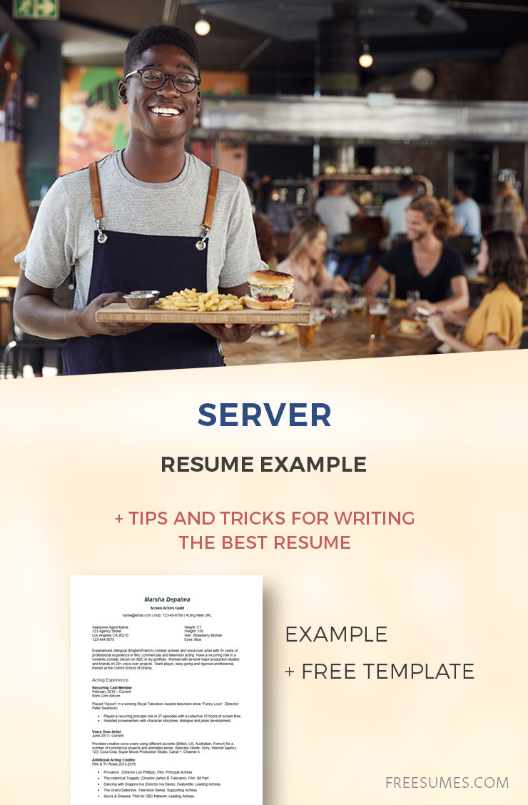 sample server resume