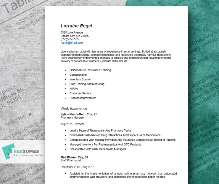 resume example for pharmacist