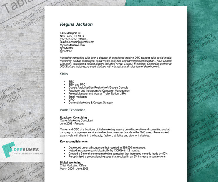 resume example for consultant