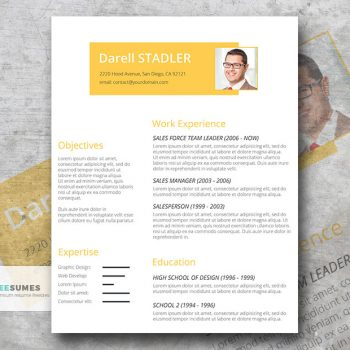 cadmium yellow resume template