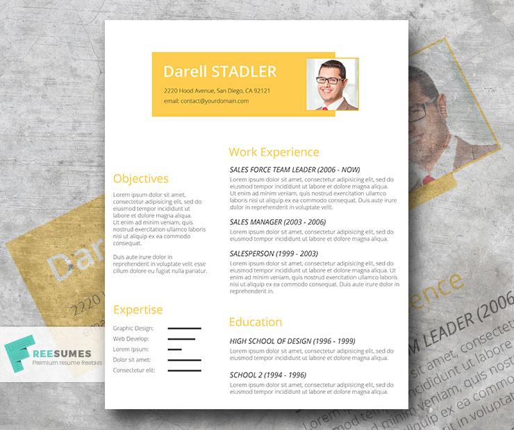 cadmium yellow resume template