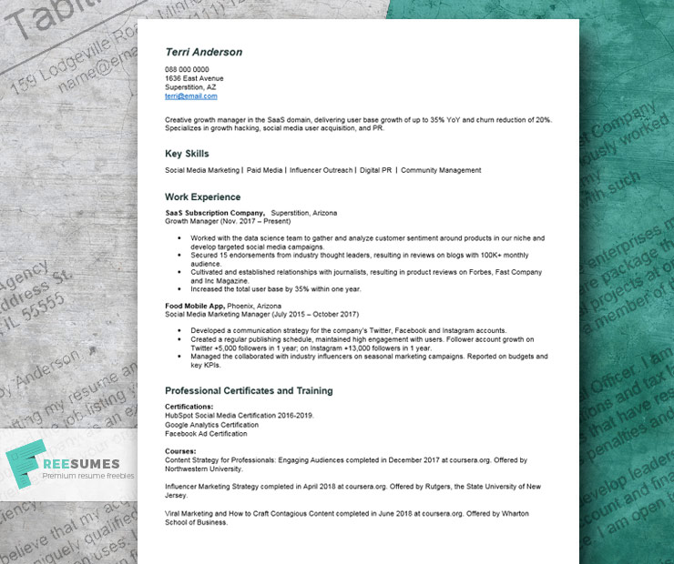 resume example for no college degree