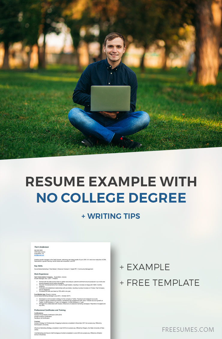 sample no college degree resume