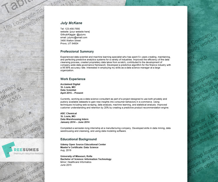 resume example for data scientist