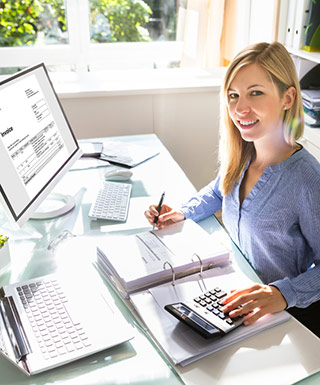 bookkeeper with financial software