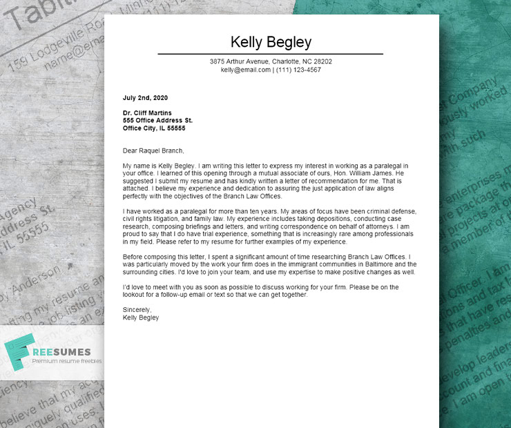 Letter To Lawyer Example from www.freesumes.com