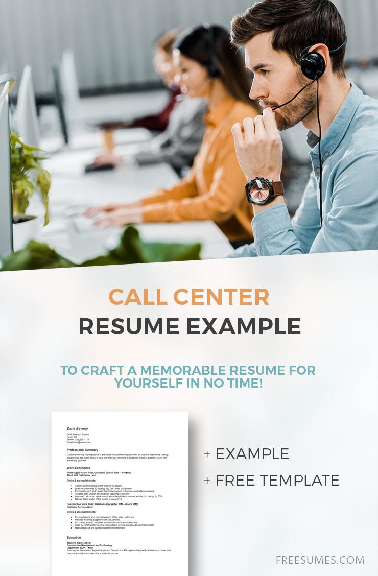 sample call center resume
