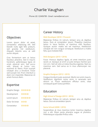 Golder Resume Template for Google Docs