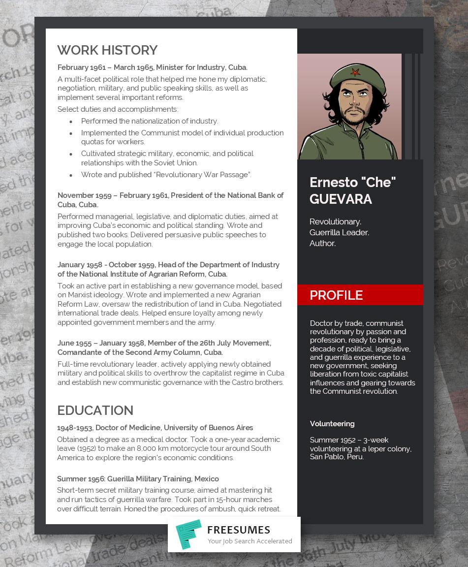 Che Guevara's resume
