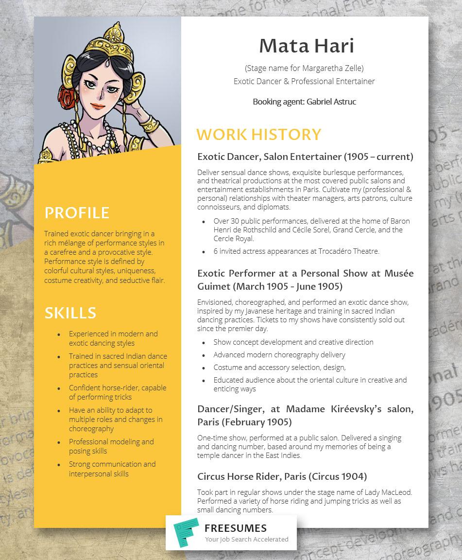 Mata Hari's resume