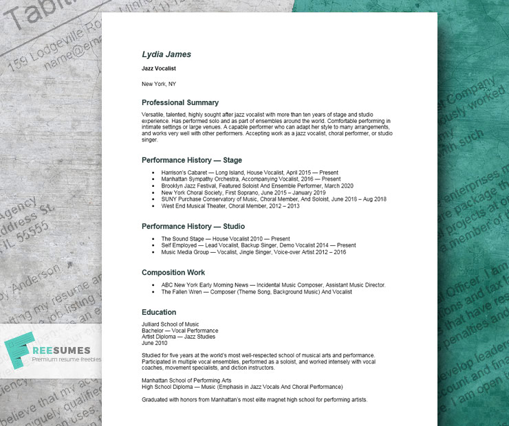 music resume example for Word