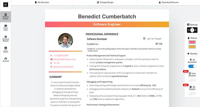 Hiration online resume builder