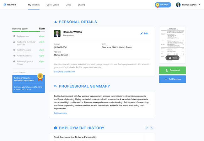 Resume.io CV builder