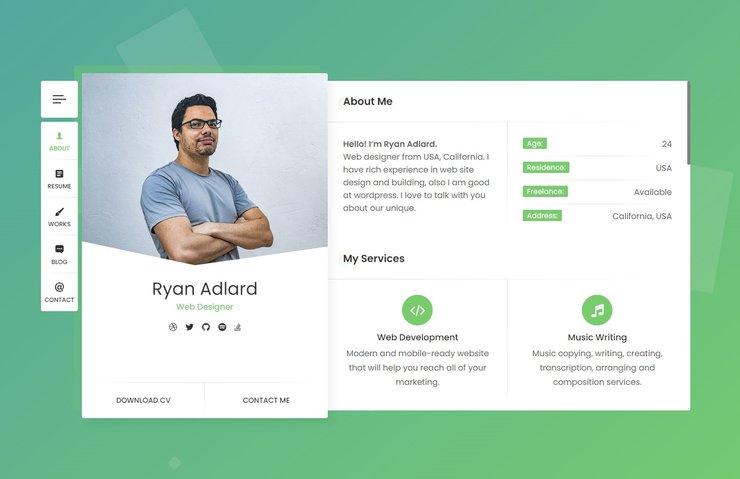 Ryan CV WordPress theme