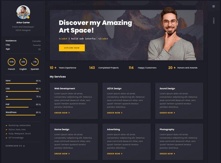 Arter WordPress resume theme
