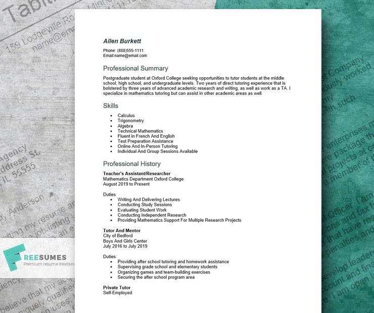 tutor resume sample for Word