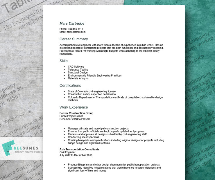 civil engineer resume sample