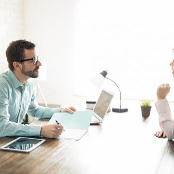 reviewing resume during interview