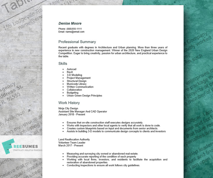 resume example for an architect